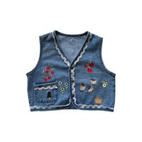 Waistcoat Kids Coat Children Vests Girls Clothing Spring Summer Denim Flower Tops 2-6Y B5291