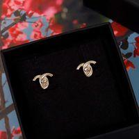 2021 Simple Design Stud Boucle d'oreille en or 18 carats plaqué or pour femme Engagements de mariage Cadeau de bijoux ont une boîte S3074