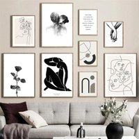 Paintings Abstract Figures Canvas Poster Hand In Couple Kiss Painting Line Drawing Wall Art Print Black And White Pictures Home Decor