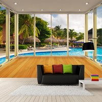 Wallpapers Custom Mural Wallpaper 3D Stereo Balcony Maldives Swimming Pool Nature Scenery Fresco Living Room TV Sofa Background Wall Papers