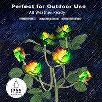 Lawn Lamps IP65 2pcs Solar Simulation Rose Lantern Waterproof Garden Landscape Light Outdoor Home Decoration Flower Night