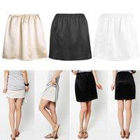 Women Elastic Waist Half Slip Petticoat Skirts Underskirt Lady Crinoline Milk Silk White Lace Commuter Office Ladies Skirt Women's Sleepwear