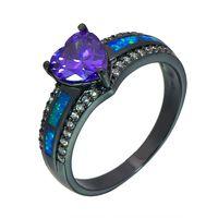Cluster Rings Blue Fire Opal Herz Ring Mode Schwarz Gold Gefüllt Schmuck Hochzeit Geschenk für Frauen RJL170508010