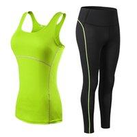 Women Fitness Suit Yoga Sets Gym Sleeveless Vest + Pants Running Tights Workout Sportswear Leggings yoga suit 210802