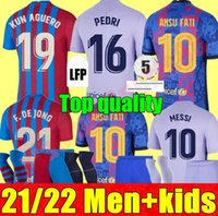 21 22 Hombres para adultos Kit Kit de niños Barcelona Jerseys de fútbol Barca FC Home Alojamiento 3RD Ansu Fati Messi Kun Agüero 2021 2022 Griezmann F.De Jong T Camisa de fútbol Con Countinho