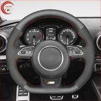 أسود جلد سيارة غطاء عجلة القيادة ل أودي أودي S1 S3 S4 B8 Avant S5 8T S6