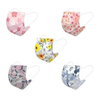 Adult face-mask flower printing spun lace non-woven three-layer melt blown cloth disposable masks