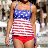 Women Swimwear Independence Day Flag American The Fourth Of July Two Pieces Bikini Beachwear Conservative Swimsuit Women's