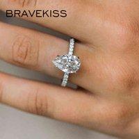 Bravekiss Lüks Gözyaşları Düğün kadın Yüzükler Kübik Zirkonya Prong Ayarı Su Damlası Aşk Yüzük Boho Zirkon BTS Takı Bur0577A Y0420