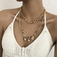 Pendant Necklaces Summer Beach Glass Beaded Chain Shell Necklace Stainless Steel U Shaped Link Women's Collar Party Jewelry