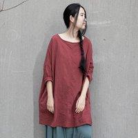 Женская футболка Joilature женщины хлопчатобумажные льняные футболки сплошной цвет старинные о-шеи с длинным рукавом Оригинальная одежда 2021