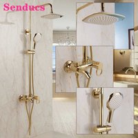 Gold Bathroom Shower Set Senducs Round Rainfall Hand Shower Head Copper Bathtub Mixer Faucets Hot Cold Bath Shower System X0705
