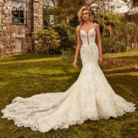 Other Wedding Dresses EVALOVE Gorgeous Appliques Beading Spaghetti Straps Mermaid Dress 2022 Sexy Sweetheart Neck Backless Trumpet Bridal Go