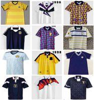 1986 1995 Écosse rétro Jersey Soccer Jersey Equipements de la Coupe du Monde Maison Bleu Kits 1996 1998 Classic Vintage Scotland Retro Shirt Tops