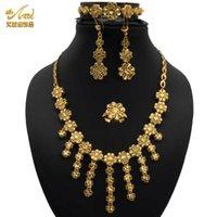 ANIID Jewelery Bridal Necklace Set For Women Wedding Dubai Jewelry Earrings Luxury Rings Bracelet Indian 24K Gold Plated Quality H1022