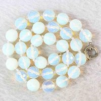 Chains White Oplite 10mm Faceted Round Beads Necklace For Women Choker Chain High Quality Jewelry Making 18inch B645-1