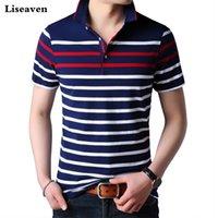 Liseaven Erkekler Polo Gömlek Kısa Kollu Çizgili Polos Erkek Gömlek Topstees Marka Giyim Erkekler Camisas 210319