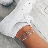 Anklets Bohemian Vintage Double Layer Chain Women Foot Bracelet Sequins Sheet Silver Color Beach Party Jewelry Gift