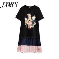 Summer Cute Large Plus Size Manga Cartoon T Shirt Dress Sport Fashion Casual Loose Clothes For women Black Pink Big 210510