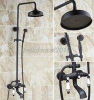 욕실 비 샤워 수도꼭지 세트 블랙 오일 문질러 냉기와 세라믹 핸들 목욕 욕조 믹서 LHG121 세트