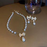 Boucles d'oreilles de luxe brillantes de luxe brillant pour femmes élégantes perles Bowknot Boucle d'oreille Boucle d'oreille de mariage