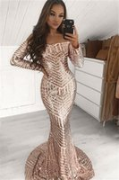 Aso Ebi 2021 Arabic Plus Size Rose Gold Mermaid Evening Dresses Long Sleeves Sequined Sexy Prom Formal Party Second Reception Bridesmaid Gowns Dress ZJ277