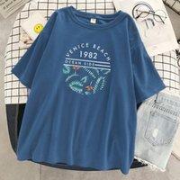 البندقية شاطئ 1982 إلكتروني نمط طباعة المرأة تي شيرت فضفاض س الرقبة القمصان الناعمة عارضة قميص قمم الصيف ماركة الملابس المرأة