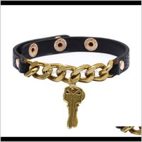 Bangle Jewelry Fashion Genuine Gold Plating Real Women Man With Key Charms Pendant Bracelets Punk Leather Jewelry Drop Delivery 2021 Trxeg