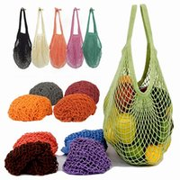 Taşınabilir Kullanımlık Bakkal Alışveriş Torbaları Meyve Sebze Çanta Yıkanabilir Pamuk Örgü Dize Organik Organizatör Çanta Kısa Kolu Net Tote WLL604