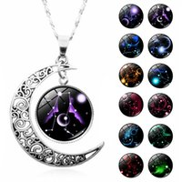 Kimter 12 Constellations Moon Necklace Jewelry for Women Men Fashion Zodiac Sign Tag Gemstone Pendant Necklaces Party Favors K86FA