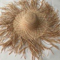 Lvtzj New Handmade Mulheres Palha Sun Hat Grande Brim Grande Gilrs Alta Qualidade Natural Raffia Panamá Panama Praia Palha Sun Caps Para Feriado 210323