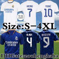 Real Madrid Futbol Forması Benzema Away Camiseta Hombre Primera Equipación Blanca 2021 22 Tehlike Asensio Casemiro Alaba Vini Jr. ISCO Futbol Gömlek Kiti Boyutu S-4XL