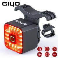 Luzes de bicicleta Giyo Smart Bicycle Light Traseira Traseira Acessórios Auto On / Off USB Recarregável Parada Sinal Lâmpada de Freio LED Lanterna de Segurança