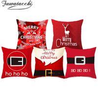Подушка Fuwatacchi Рождественский фестиваль стиль подушки подушки красный узор домашний диван автомобиль декоративный бросок наволочка 45x45см