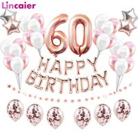 38pcs 32inch Happy 60 Birthday Foil Balloons Gold Black Latex Balloon Number 60th Years Old Party Decorations Man Woman Supplies G0927