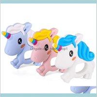 유니콘 실리콘 Teether Lovely Baby 씹는 비드 식품 학년 젖시킨 장난감 DIY 간호 목걸이 감각 키즈 Materni Rlapj