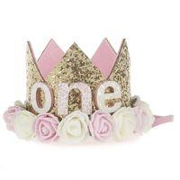 Baby Birthday Fiesta Hat Princess Crown Headband 1 2 AÑO Decoraciones de cumpleaños Baby Shower 1er Cumpleaños Niños Fiesta Suministros 869 Y2