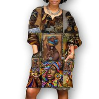 Elbiseler Afrika Kadınlar Vintage V Yaka Rahat Yaz Zarif Çiçek Baskı Patchwork Orta Mouwen Tuniek Parti Mini