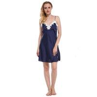 Señoras Sexy Silk Satin Nightgown Lace Nightdress Sin mangas Nighties Vestido Noche de verano Vestido de sueño con Encanto Desgaste de la noche para mujeres