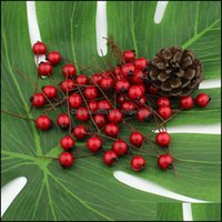 Decorative Wreaths Festive Party Supplies Home & Garden1Cm 50Pcs Artificial Flowers Stamens Red Berries Cherry Fake Smooth Foam Fruit For We