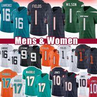 16 Trevor Lawrence Justin Fields 10 Mac Jones Jersey de fútbol americano 1 Zach Wilson 9 Travis Etienne 17 Jaylen Waddle Jerseys 2021 Bordado de hombres Bordado