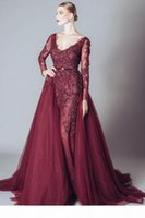 Elegant Backless Burgundy Lace Formal Celebrity Evening Dresses V Neck Long Sleeves Middle East Arabic Prom Party Gowns DH4111