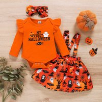 Bear Learder Baby Kids Girl Clothes Halloween Outfit Newborn Infant Fall Romper Pumpkin Print Suspender Skirt Headband 3pcs Set Y0909