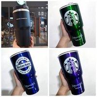 30 OZ Starbucks Paslanmaz Çelik Fincan Mor Mavi Yeşil Kırmızı Paslanmaz Çelik Saman Fincan Stanley Katı Renk Büyük Kapasiteli Araba Taşınabilir Su Kupası Hediye