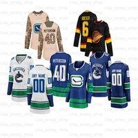 Personalizado Vancouver Canucks Hockey Jerseys 6 Brock Boeser 33 Henrik Sedin 10 Pavel Bure 22 D.Sedin 35 Thatcher Demko 40 Elias Pettersson