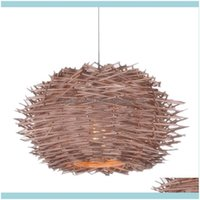 Décor Novelty Items Home & Garden Rural Style Birds Nest W Pendant Coffee House Dining Hall Foyer Lamp Holder Indoor Lighting Drop Delivery
