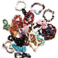 Natural Stone Bracelets Strands Sodalite Chip Gemstone 18cm Stretch Healing Crystal Mixed Bracelet