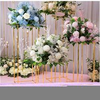 Pcs Gold Flower Vase Floor Vases Column Stand Metal Road Lead Wedding Table Centerpiece Rack Event Party Decorat Decoration