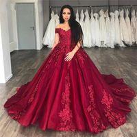 elegant Burgundy V-Neck Off The Shoudler Satin prom Dress foral applique Long Party Evening Gowns Lace Up Back Ball Gown robe fete vestaglia donna