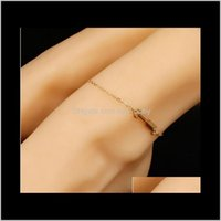 Simple pour les filles Mesdames Métal Made Frarow Heart Charm Charme Bracelets Goldsilver Plaqué WGCLS VGUZQ